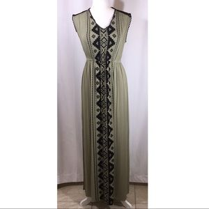 Olive Green Aztec Maxi Dress